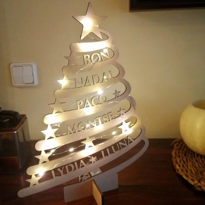 Arbol de Navidad con nombres y luces
