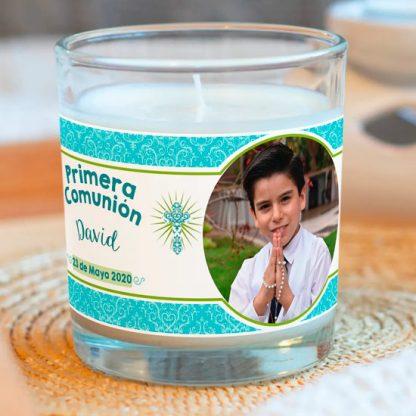 vaso personalizado y vela comunion